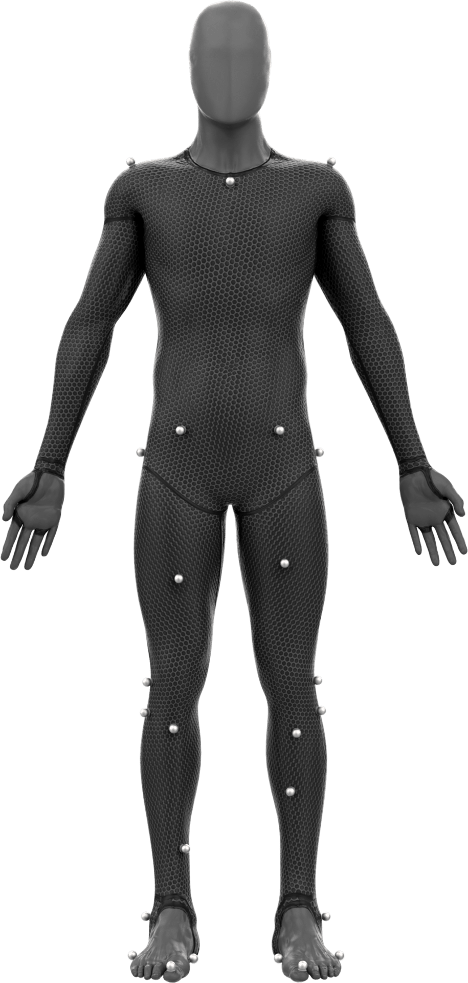 A figure in a-pose with motion capture reflectors on them