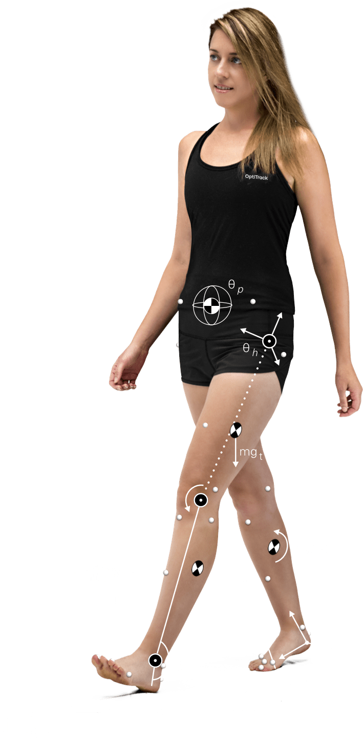 Female with gait metrics overlaid