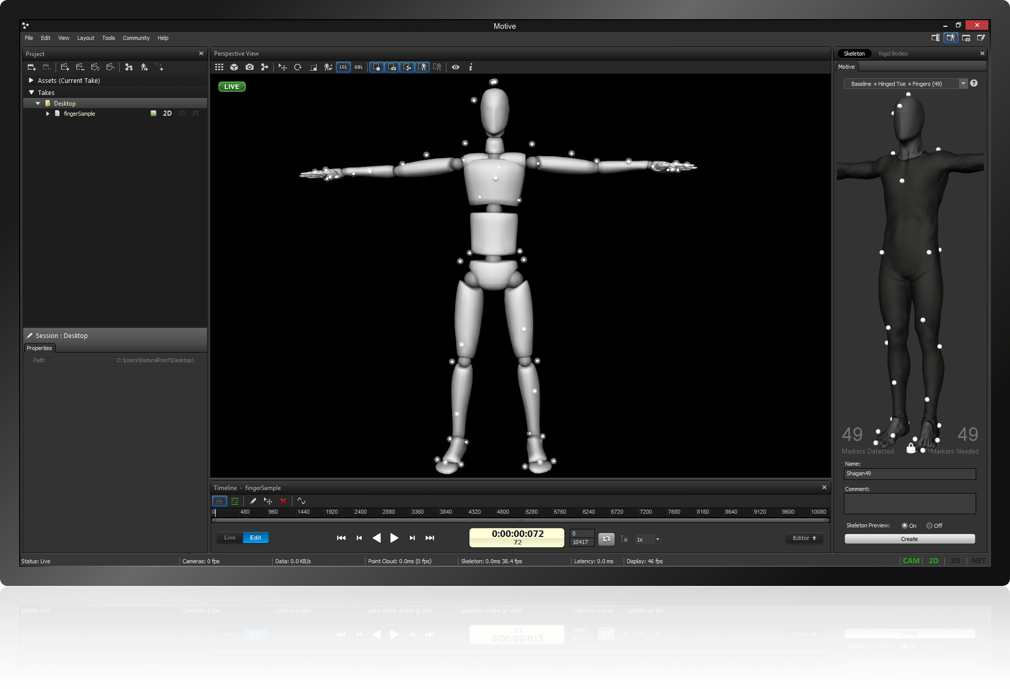 An image of Motive's easy calibration of the entire body in just a few clicks.