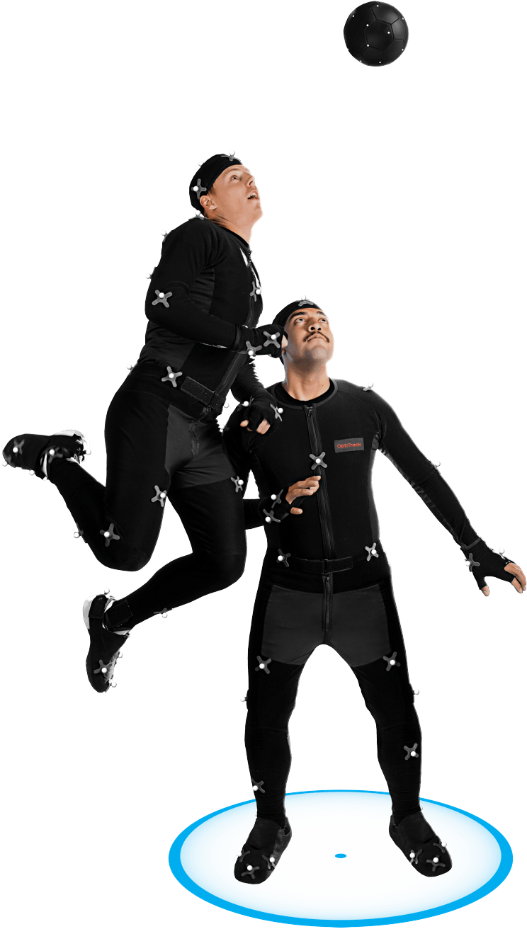 Soccer players with mocap suits demonstrating how Optitrack can support high intensity applications while handling drift well.