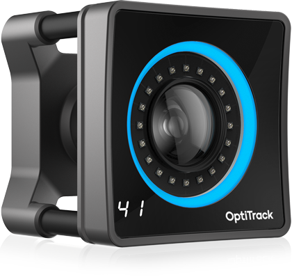 Image of the OptiTrack PrimeX 41 camera with blue ring lights