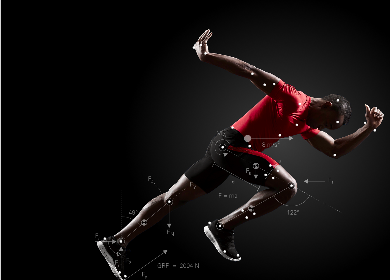 Sprinter with motion capture markers and metrics overlaid